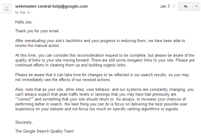 google reconsideration request letter sample